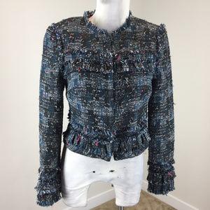 Diane Von Furstenberg S 4 Blue PInk Tweed jacket
